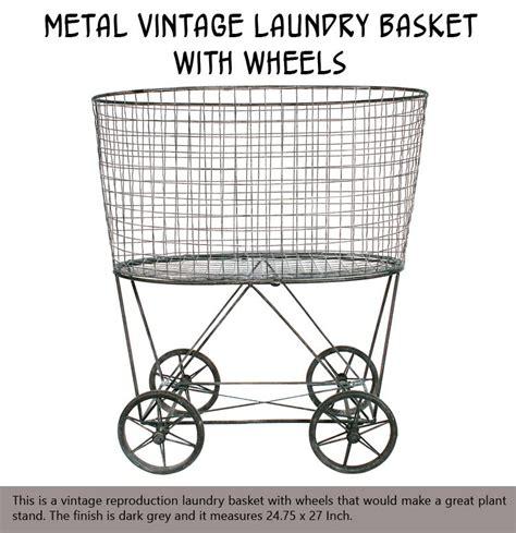 vintage style iron laundry basket on wheels jpg 750x774